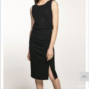 NWOT Massimo Dutti Rouched Black Pencil Skirt